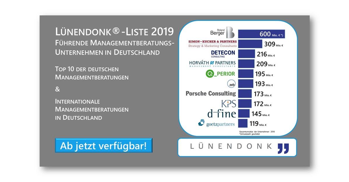 Lünendonk-Liste 2019: Managementberatung in Deutschland - Top 10